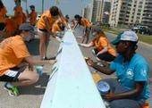 Volunteers Paint Longest Mural In City In Rockaway